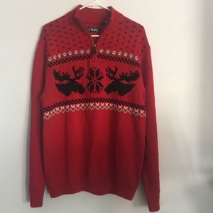 Chaps Moose Lodge Sweater Red Large New